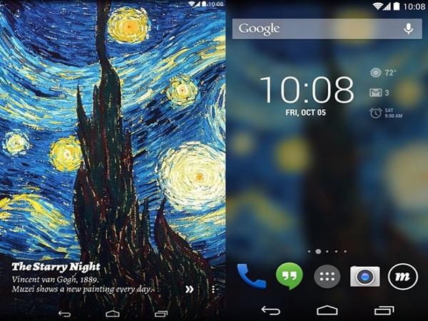 Màn hình của ứng dụng android Muzei có thể biến màn hình điện thoại thành bảo tàng nghệ thuật.